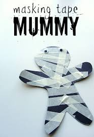 Crafts For Kids For Halloween - masking tape mummy halloween craft for kids no time for flash cards