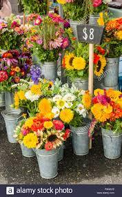 beaverton florist cut flower display at the farmers market beaverton oregon stock