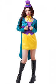 Womens Mad Hatter Halloween Costume Blue Chic Ladies Crazy Mad Hatter Halloween Fairytale Costume
