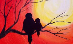 easy acrylic painting simple mama bird sunset the art sherpa