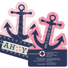 girl baby shower invitations ahoy nautical girl shaped baby shower invitations