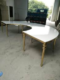 Dining Room Sets For 10 People by Half Moon Shape Gold Stainless Steel Frame Dining Table Wedding