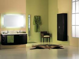 chic lime green wall painting in large bathroom feat black wood