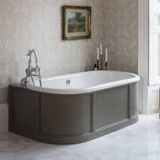 burlington london back to wall bath with curved surround overflow
