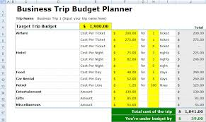 Travel Budget Template Excel Free Business Trip Budget Spreadsheet Excel