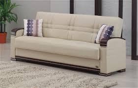 Fulton Cream Leather Sofa Bed By Empire Furniture USA - Cream leather sofas