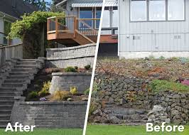 Rock Garden Wall Tiered Retaining Wall On Lake Near Yelm Ajb Landscaping