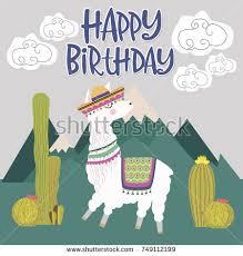 happy birthday card cute lama editable stock vector 689474317