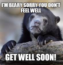 Funny Get Well Meme - meme maker im beary sorry you dont feel well get well soon