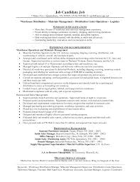 warehouse resume skills summary customer warehouse manager resume exles http www resumecareer info