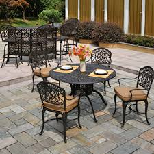 Cast Aluminum Patio Chairs Cast Aluminum Patio Set Beige Fabric Chair Cushion Cast