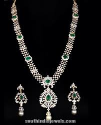 diamond long necklace images Diamond long necklace with earrings south india jewels jpg