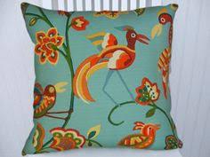 Outdoor Pillow Slipcovers Graphic Twist Green Blue Aqua Waverly Indoor Outdoor Pillow