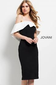 Evening Dress Black And White Fitted Knee Length Off The Shoulder Ruffle