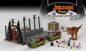 jurassic park car lego lego ideas jurassic park 25th anniversary t rex paddock breakout