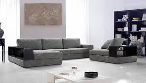 Grey Fabric Modern Living Room Sectional Sofa W Wooden Legs | modern grey fabric sectional sofa w chair