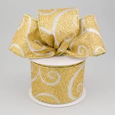 gold glitter ribbon 2 5 metallic gold glitter ribbon with silver swirls 10 yards