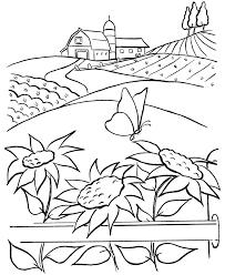 farm scenes coloring farm barn sunflowers butterfly