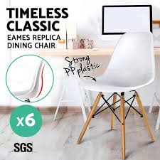 6x retro replica eames eiffel dsw dining chair cafe kitchen beech
