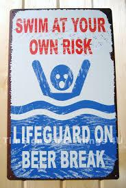lifeguard on beer break tin sign funny vtg metal pool beach bar no