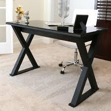 walker edison we furniture elite metal computer desk black glass