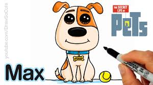 how to draw max easy step by step the secret life of pets youtube