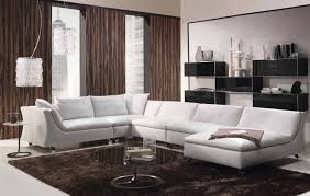 Modern Leather Chair Viewing Gallery Modern Faux White Leather Sectional Sofa With Chaise Lounge Of