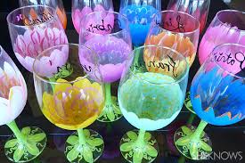 diy painted flower wine glasses