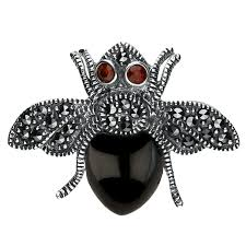 silver whitby jet garnet and marcasite bee brooch w hamond the