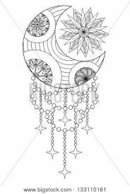 coloring pages henna art bohemian moon sun hand drawn vector photo bigstock