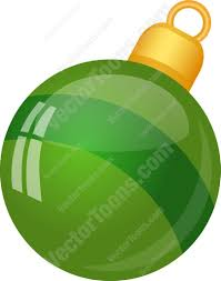 shiny green christmas tree ball ornament with a stripe cartoon