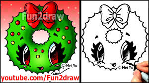 how to draw a christmas wreath with a bow fun2draw easy cartoon