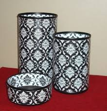 Black And White Desk Accessories Black And White Damask Desk Accessory Set Gift For Coworker