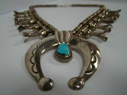 silver turquoise necklace images Rare sterling silver native indian turquoise squash blossom jpg
