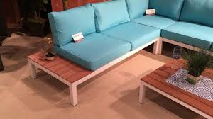 patio sectional sofa 2580 blue u0026 white with wood outdoor patio sectional sofa youtube