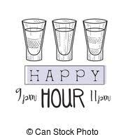 vector clip art of wbar happy hour promotion sign design template