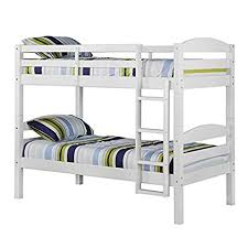 Bunk Bed Frames Solid Wood by Amazon Com We Furniture Solid Wood Twin Bunk Bed White Kitchen