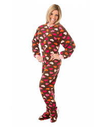 chocolate brown with hearts footed pajamas