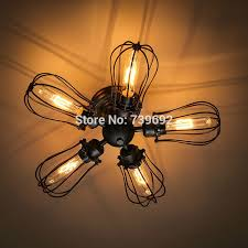 wrought iron flush mount lighting vintage industrial rustic metal wire cage steunk ceiling l