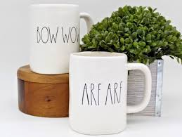 new rae dunn magenta bow wow arf arf 2 coffee mug set what u0027s