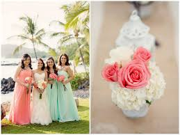 mint green wedding rustic coral seafoam green destination wedding