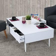 Wohnzimmertisch Skandinavisch Malmö T341 Wohnzimmertisch Lowboard Retro Design 41x120x60cm Weiß