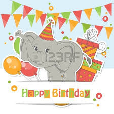 happy birthday card colorful illustration with cute flying