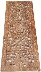 asian carved wood wall decor panel floral wood wall white