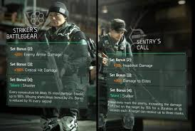 tom clancy s the division gear set bonuses and talents which