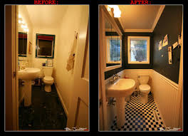 remodeling small bathroom design with white black paint wall also