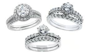 groupon wedding rings cubic zirconia engagement set groupon goods