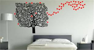bedroom artistic navy blue wall quote sticker in bedroom art beauiful red love shape and lovely black floral tree wallpaper in bedroom art decoration matched