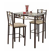 crown 3 piece glass top counter height pub table set hayneedle