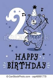 vectors illustration of birthday card for 2 year old baby 2 year